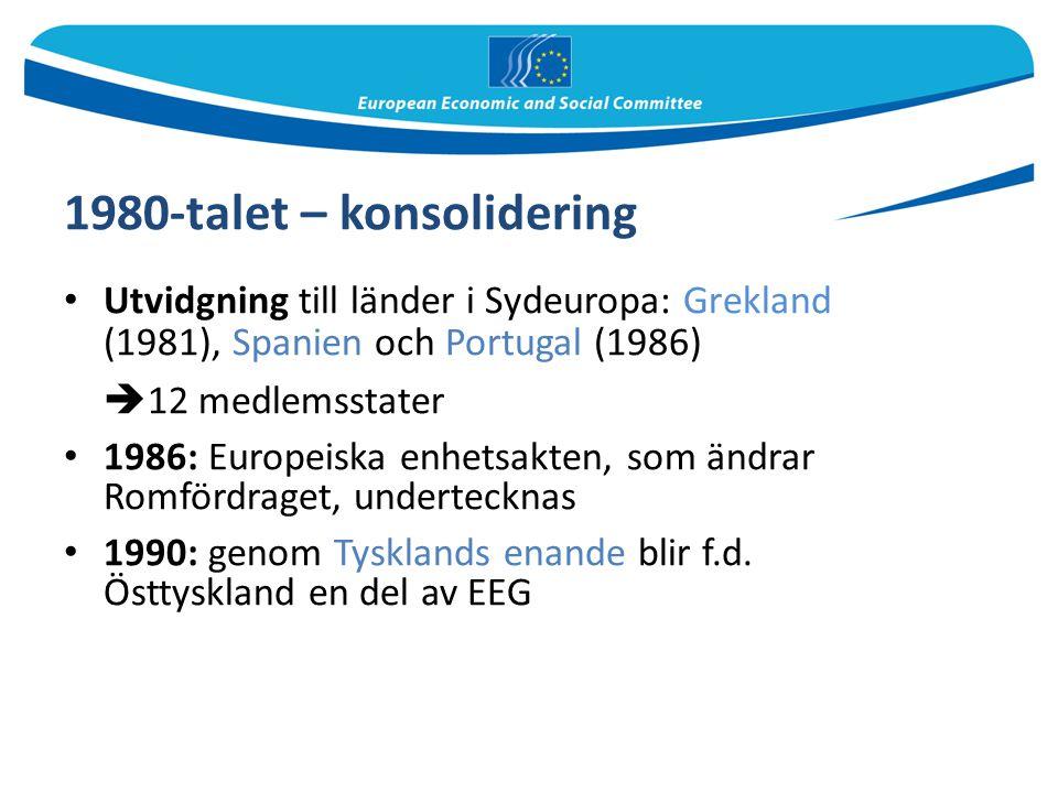 1980-talet – konsolidering Utvidgning till länder i Sydeuropa: Grekland (1981), Spanien och Portugal (1986)  12 medlemsstater 1986: Europeiska enhets