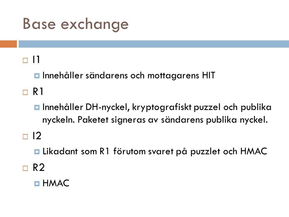 Övriga paket  CLOSE  Används för att stänga av en HIP-förbindelse  CLOSE_ACK  Bekräftan på ett CLOSE-paket  UPDATE  Används för att meddela sin nya lokalitet  NOTIFY  Används för att meddela protokollfel, exempelvis vid base exchange