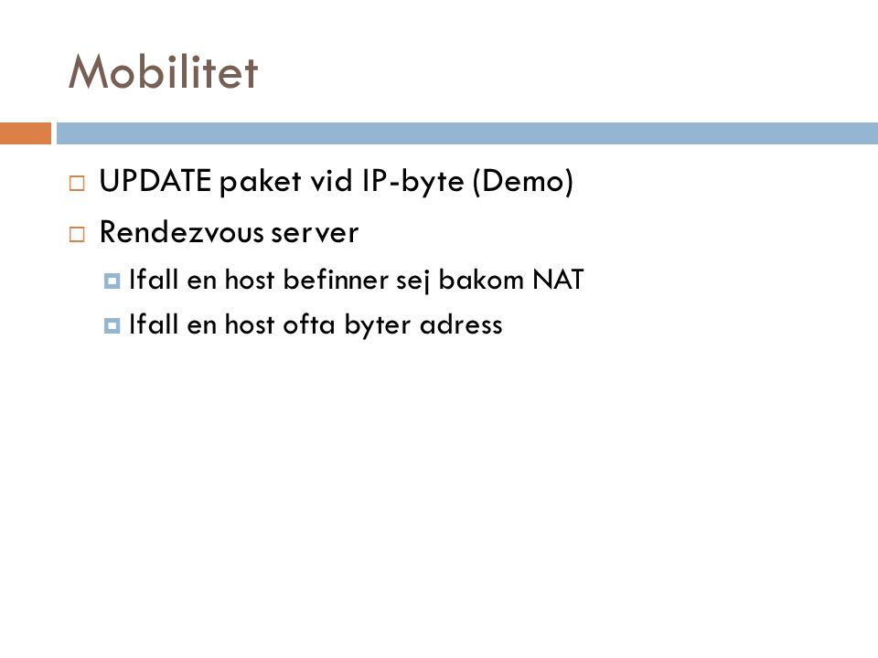 Mobilitet  UPDATE paket vid IP-byte (Demo)  Rendezvous server  Ifall en host befinner sej bakom NAT  Ifall en host ofta byter adress