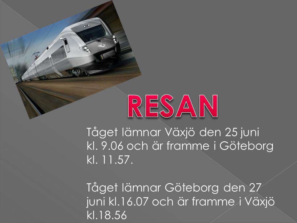 Tåget lämnar Växjö den 25 juni kl. 9.06 och är framme i Göteborg kl.