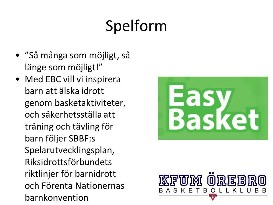 """Spelform """"Så många som möjligt, så länge som möjligt!"""" Med EBC vill vi inspirera barn att älska idrott genom basketaktiviteter, och säkerhetsställa at"""