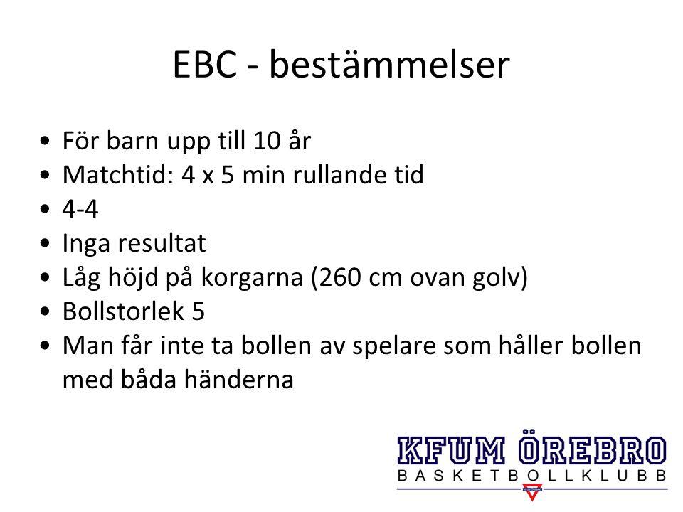EBC - bestämmelser För barn upp till 10 år Matchtid: 4 x 5 min rullande tid 4-4 Inga resultat Låg höjd på korgarna (260 cm ovan golv) Bollstorlek 5 Ma