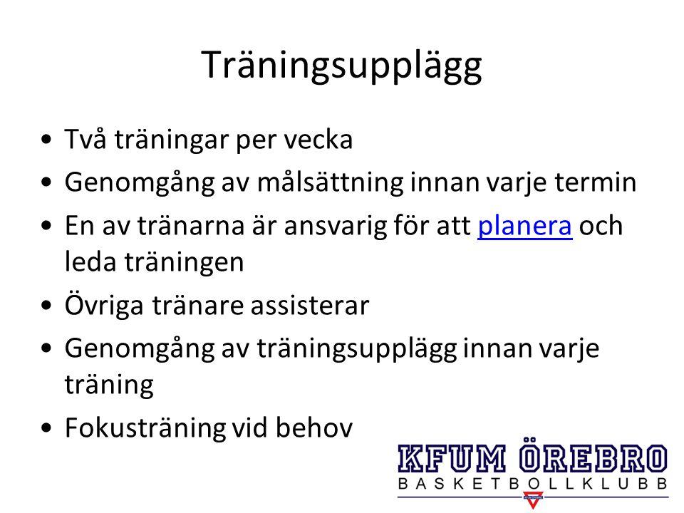 Träningsupplägg Två träningar per vecka Genomgång av målsättning innan varje termin En av tränarna är ansvarig för att planera och leda träningenplane