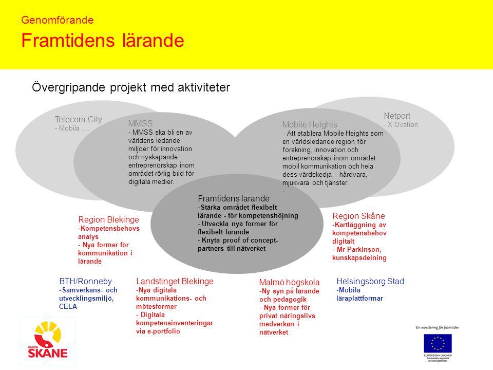 Genomförande Framtidens lärande Förslag till aktiviteter under de övergripande: Stärka området flexibelt lärande och bidra till kompetenshöjning i Skåne och Blekinge - Utveckla nätverkets organisation och samverkansformer samt skapa nya former för privat näringslivs medverkan, Region Skåne, Malmö högskola Utveckla nya former för flexibelt lärande inom organisationer och företag - Förpacka det informella lärandet, samtliga parter ( Mr Parkinson , kunskapsdelning via digitala stödfunktioner i praktiken, Region Skåne och Nya digitala kommunikations- och mötesformer i lärande, Region Skåne/Blekinge och Landstinget Blekinge, BTH/Ronneby) - Digitala kompetensinventeringar och behovsanalyser via e- portfolio etc, Region Skåne/Blekinge och Landstinget Blekinge - Konceptualisera en ny syn på lärande och pedagogik i organisationer och företag, Malmö högskola, BTH - Mobila lärapplikationer, Helsingborg Stad och BTH Samverka med proof of concept- partners och finansiärer Minc, Blekinge business incubator, Wise, Tillväxtarena Syd, Sydsvenska entreprenörskapsfonden,