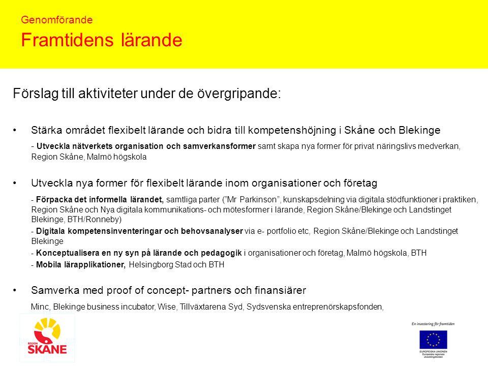 Genomförande Framtidens lärande Genomförande Ansökan till insatsprojekt in den 7 januari 2010 inom Tillgänglighet 4.2, Infrastruktur för lärande Medfinansiärer Region Skåne, Region Blekinge, Malmö högskola, Landstinget Blekinge och ev.