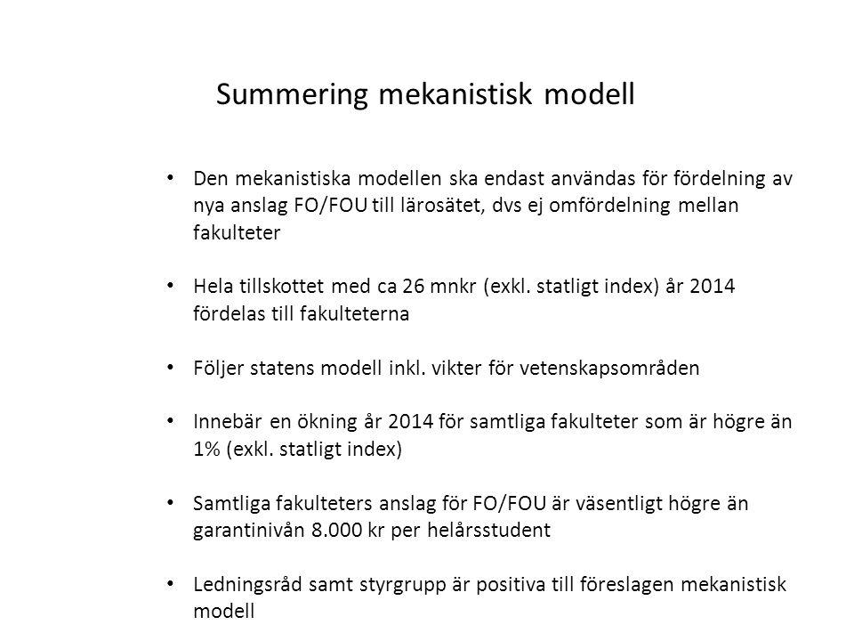 Summering mekanistisk modell Den mekanistiska modellen ska endast användas för fördelning av nya anslag FO/FOU till lärosätet, dvs ej omfördelning mellan fakulteter Hela tillskottet med ca 26 mnkr (exkl.