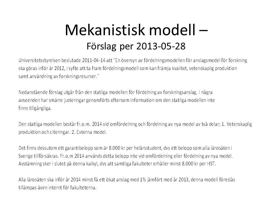 Mekanistisk modell – Förslag per 2013-05-28
