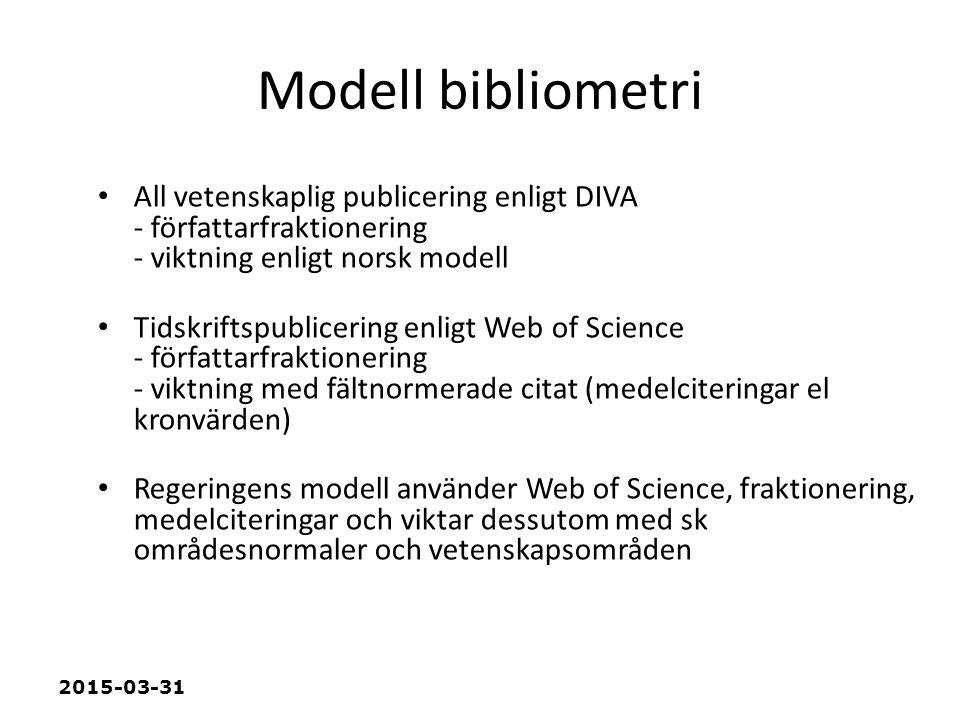 2015-03-31 Modell bibliometri All vetenskaplig publicering enligt DIVA - författarfraktionering - viktning enligt norsk modell Tidskriftspublicering enligt Web of Science - författarfraktionering - viktning med fältnormerade citat (medelciteringar el kronvärden) Regeringens modell använder Web of Science, fraktionering, medelciteringar och viktar dessutom med sk områdesnormaler och vetenskapsområden