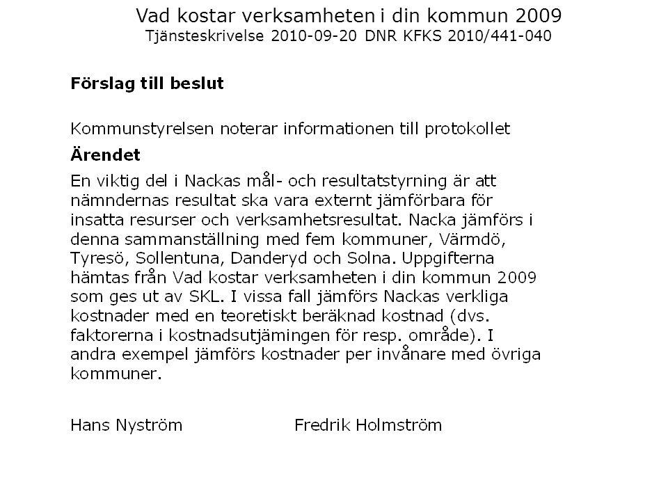 Vad kostar verksamheten i din kommun 2009 Tjänsteskrivelse 2010-09-20 DNR KFKS 2010/441-040