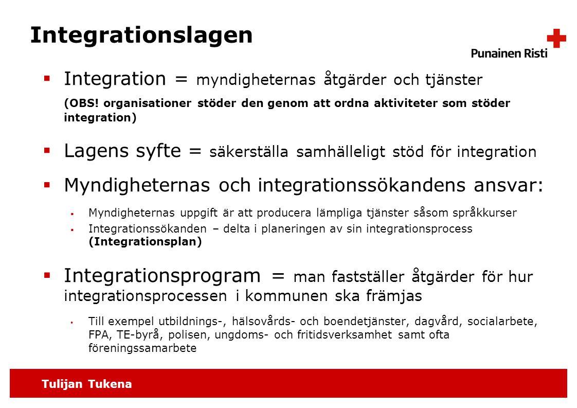 Tulijan Tukena Integrationslagen  Integration = myndigheternas åtgärder och tjänster (OBS.