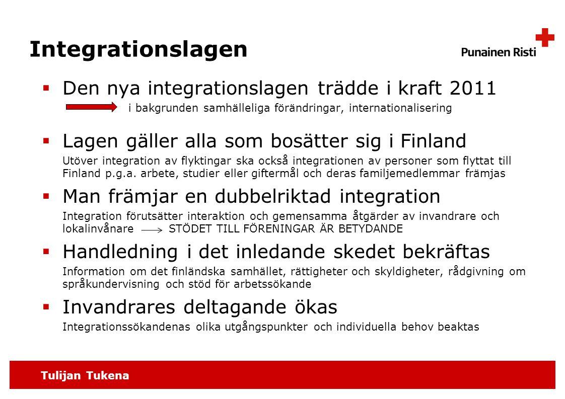 Tulijan Tukena Integrationslagen  Den nya integrationslagen trädde i kraft 2011 i bakgrunden samhälleliga förändringar, internationalisering  Lagen gäller alla som bosätter sig i Finland Utöver integration av flyktingar ska också integrationen av personer som flyttat till Finland p.g.a.