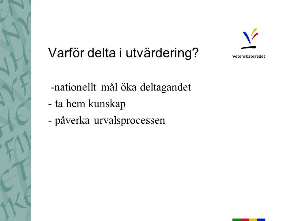 Att bli evaluerare Ansökan på nätet Mångfald Representation Två vägar