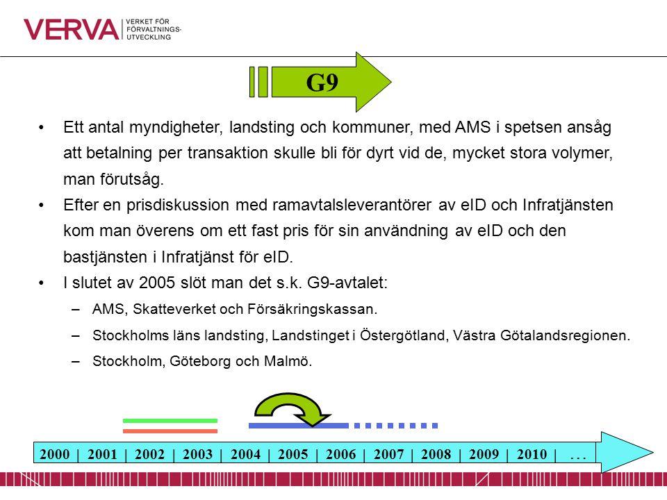 2000 | 2001 | 2002 | 2003 | 2004 | 2005 | 2006 | 2007 | 2008 | 2009 | 2010 | … Ett antal myndigheter, landsting och kommuner, med AMS i spetsen ansåg att betalning per transaktion skulle bli för dyrt vid de, mycket stora volymer, man förutsåg.
