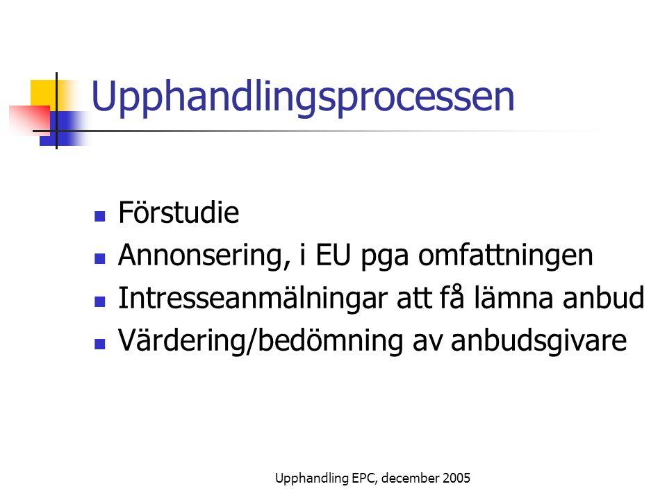 Upphandling EPC, december 2005 Upphandlingsprocessen Förstudie Annonsering, i EU pga omfattningen Intresseanmälningar att få lämna anbud Värdering/bedömning av anbudsgivare