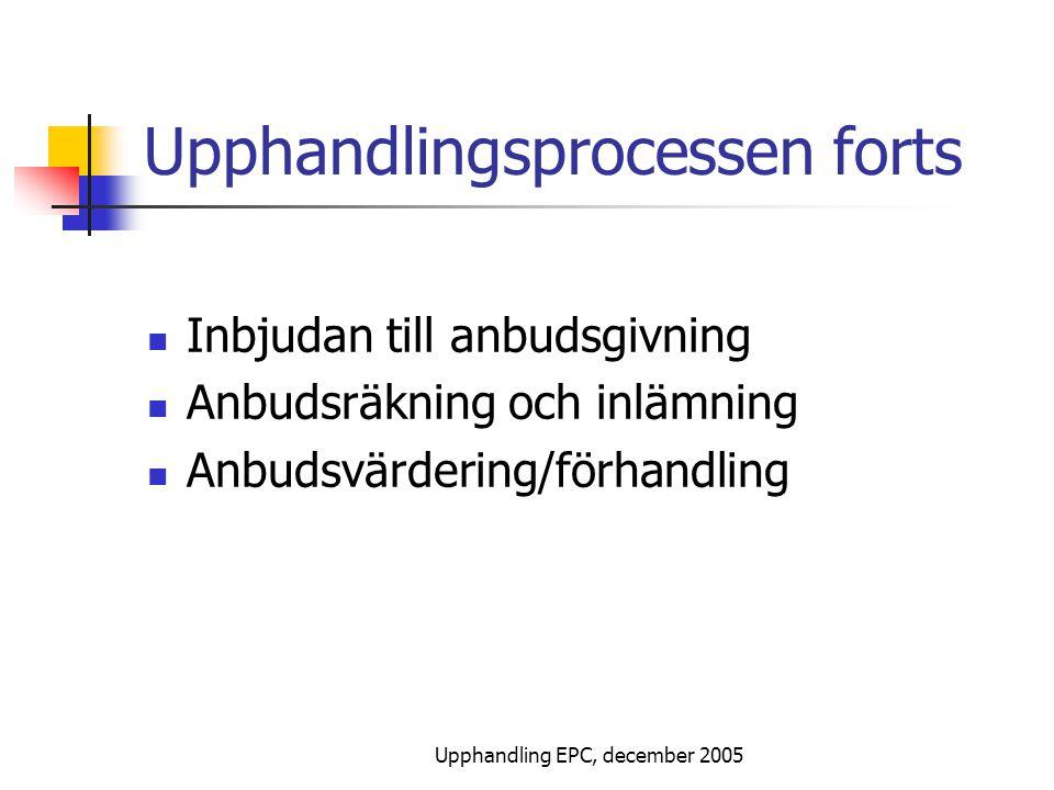 Upphandling EPC, december 2005 Upphandlingsprocessen forts Inbjudan till anbudsgivning Anbudsräkning och inlämning Anbudsvärdering/förhandling