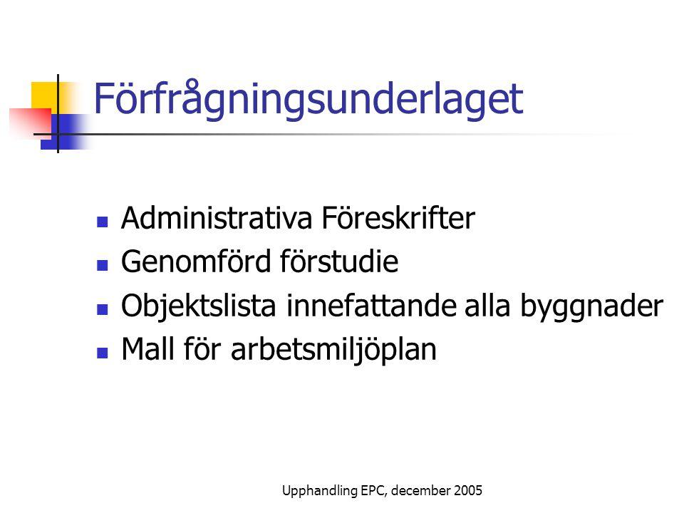 Upphandling EPC, december 2005 Förfrågningsunderlag, forts.