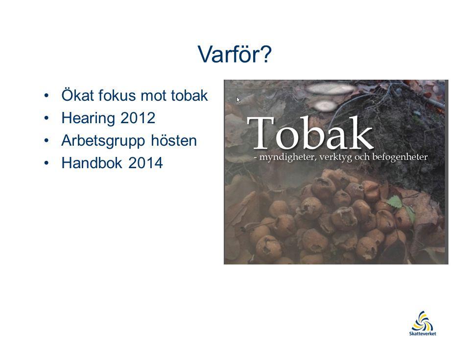 Varför? Ökat fokus mot tobak Hearing 2012 Arbetsgrupp hösten Handbok 2014