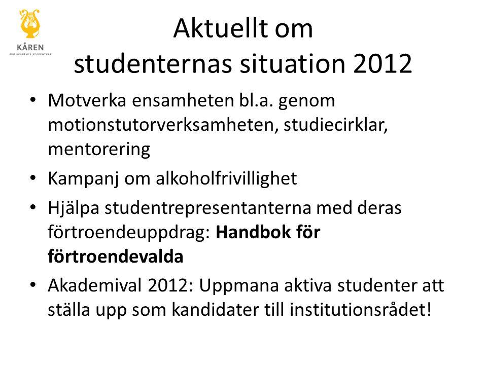 Aktuellt om studenternas situation 2012 Motverka ensamheten bl.a. genom motionstutorverksamheten, studiecirklar, mentorering Kampanj om alkoholfrivill