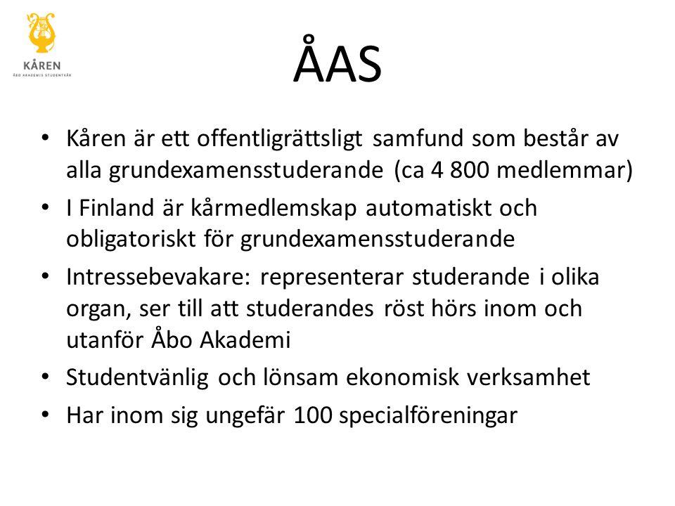 ÅAS Kåren är ett offentligrättsligt samfund som består av alla grundexamensstuderande (ca 4 800 medlemmar) I Finland är kårmedlemskap automatiskt och