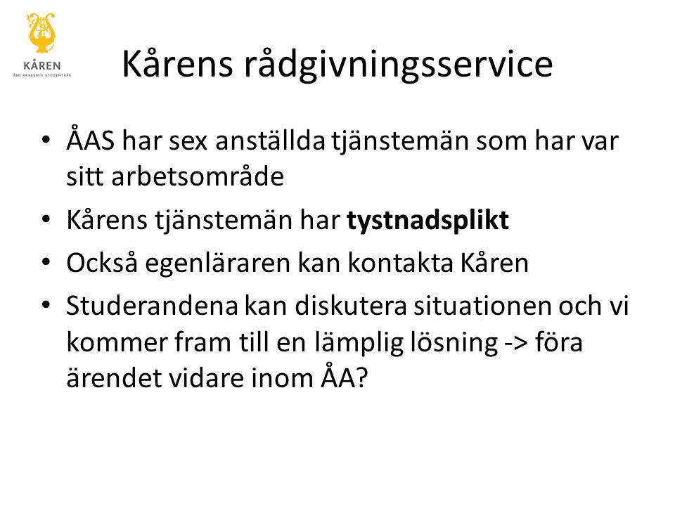 Kårens rådgivningsservice ÅAS har sex anställda tjänstemän som har var sitt arbetsområde Kårens tjänstemän har tystnadsplikt Också egenläraren kan kon