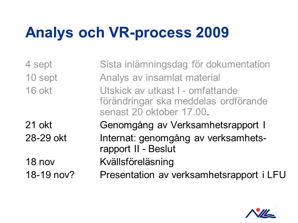 Analys och VR-process 2009 4 sept Sista inlämningsdag för dokumentation 10 sept Analys av insamlat material 16 okt Utskick av utkast I - omfattande förändringar ska meddelas ordförande senast 20 oktober 17.00.