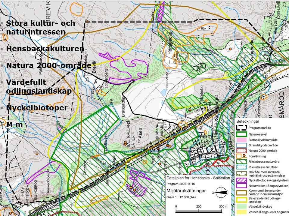  Stora kultur- och naturintressen  Hensbackakulturen  Natura 2000-område  Värdefullt odlingslandskap  Nyckelbiotoper  M m