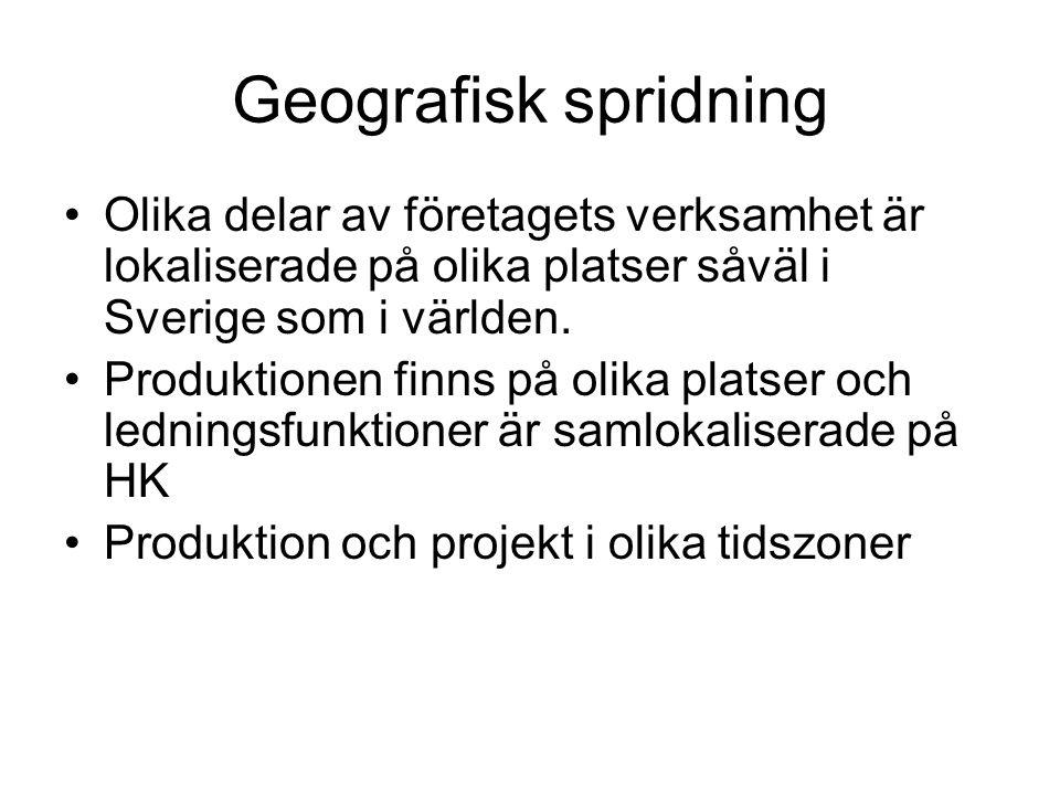 Geografisk spridning Olika delar av företagets verksamhet är lokaliserade på olika platser såväl i Sverige som i världen. Produktionen finns på olika
