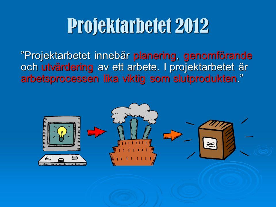Projektarbetet 2012 ARBETSPROCESS OCH SLUTPRODUKT = FORM OCH INNEHÅLL krävs för att projektarbetet ska bli godkänt!