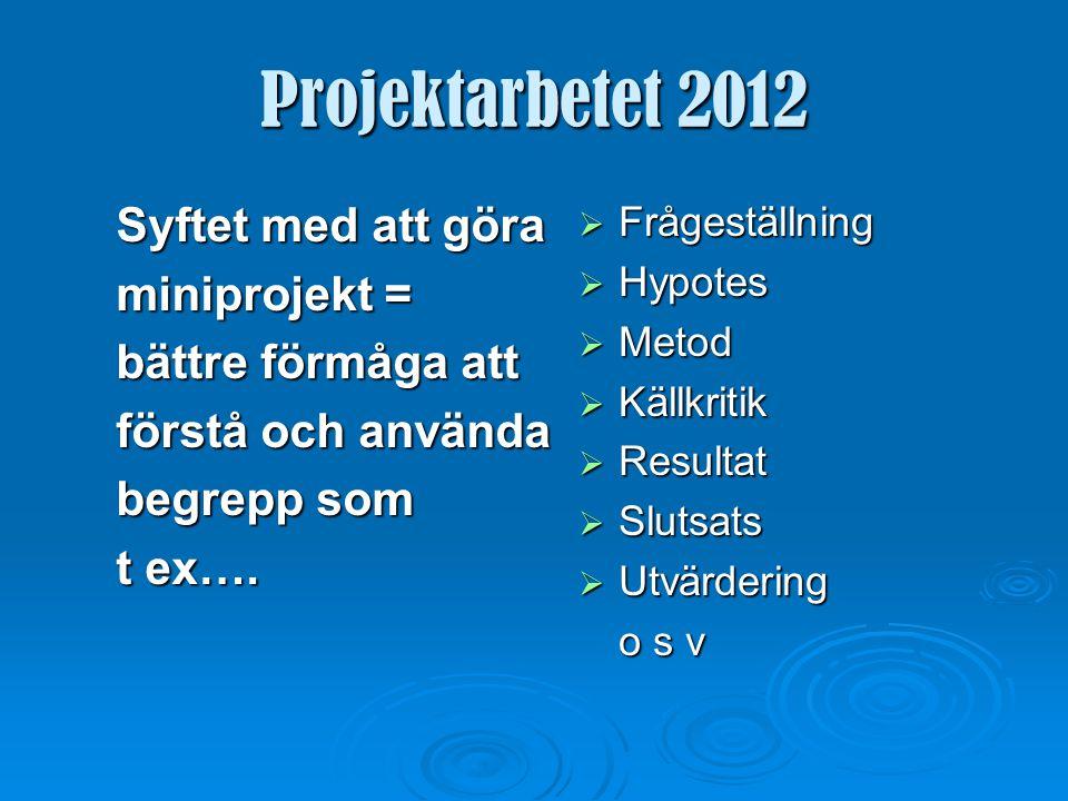 Projektarbetet 2012 Arbeta enskilt eller i grupp.Det spelar ingen roll.