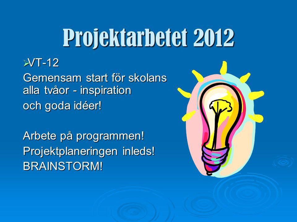 Projektarbetet 2012 Fem viktiga faktorer:  Projektplan  Handledare  Loggbok  Genomförande  Slutrapport