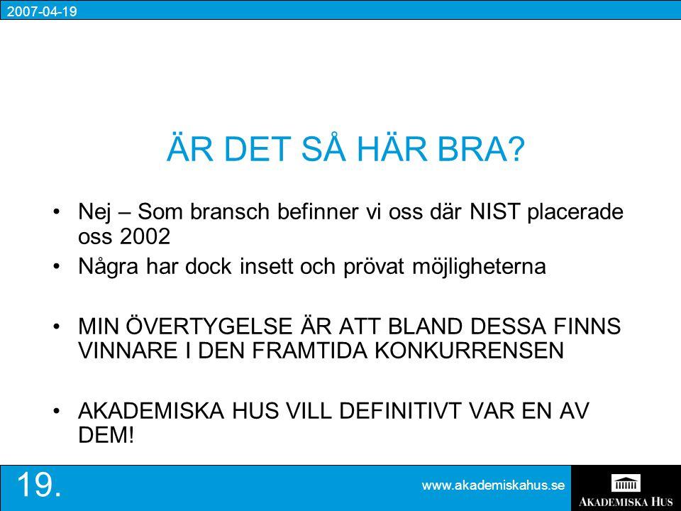 2007-04-19 www.akademiskahus.se 19. ÄR DET SÅ HÄR BRA.