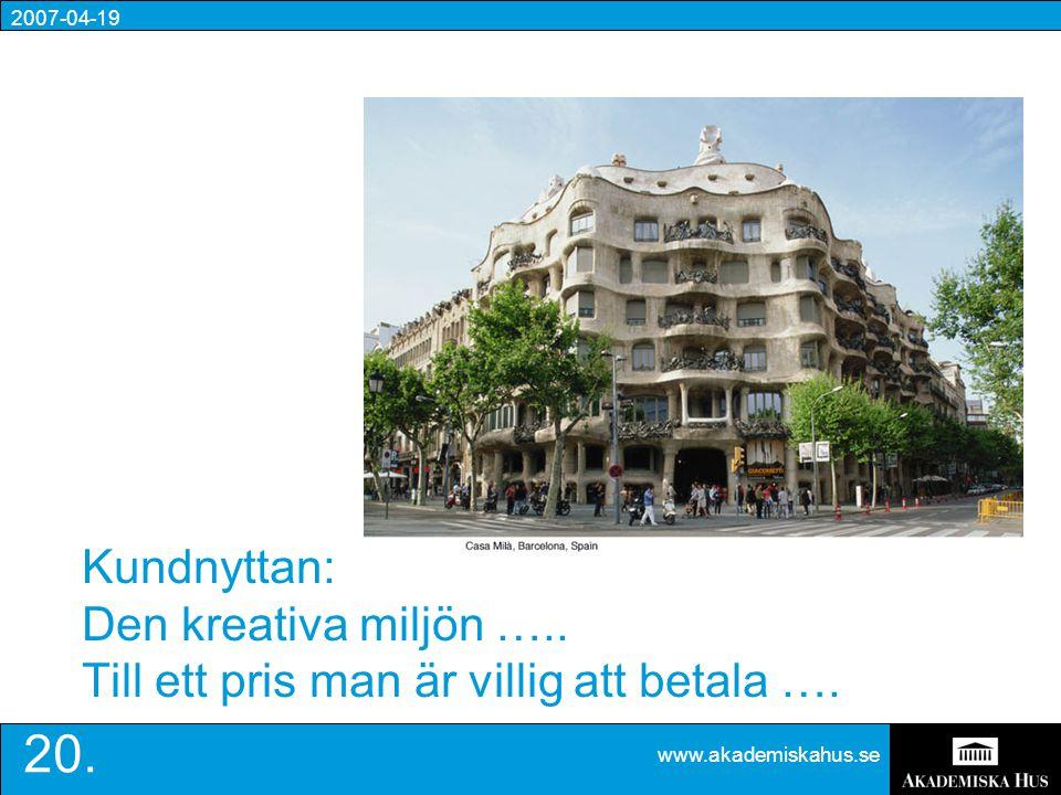 2007-04-19 www.akademiskahus.se 20. Kundnyttan: Den kreativa miljön …..