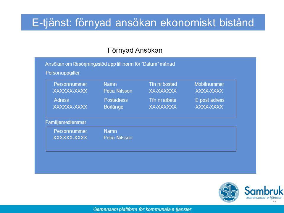 Gemensam plattform för kommunala e-tjänster 11 E-tjänst: förnyad ansökan ekonomiskt bistånd Förnyad Ansökan Personuppgifter PersonnummerNamnTfn nr bos