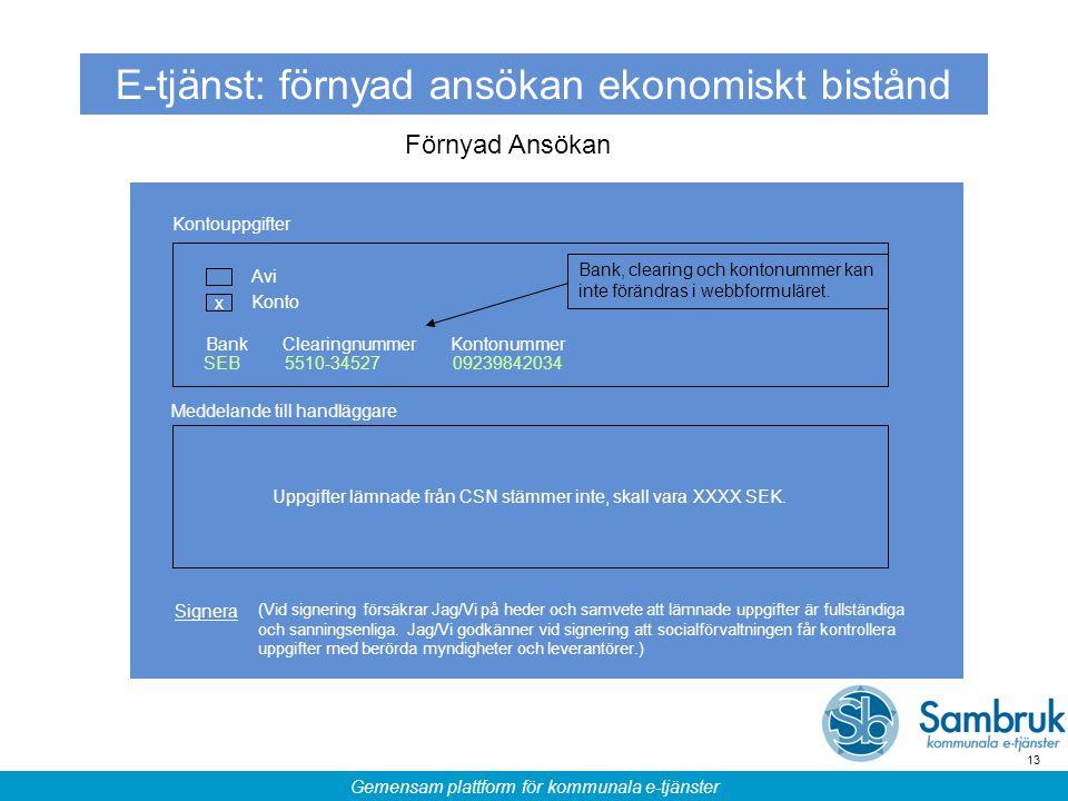 Gemensam plattform för kommunala e-tjänster 13 E-tjänst: förnyad ansökan ekonomiskt bistånd Förnyad Ansökan Kontouppgifter BankClearingnummer 5510-345