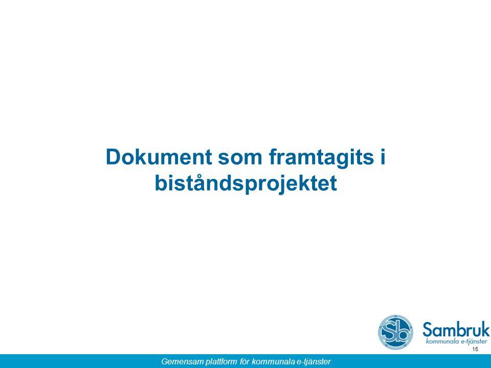 Gemensam plattform för kommunala e-tjänster 15 Dokument som framtagits i biståndsprojektet