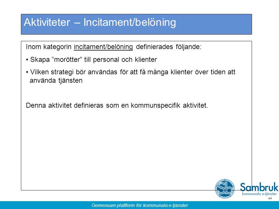 """Gemensam plattform för kommunala e-tjänster 44 Aktiviteter – Incitament/belöning Inom kategorin incitament/belöning definierades följande: Skapa """"morö"""