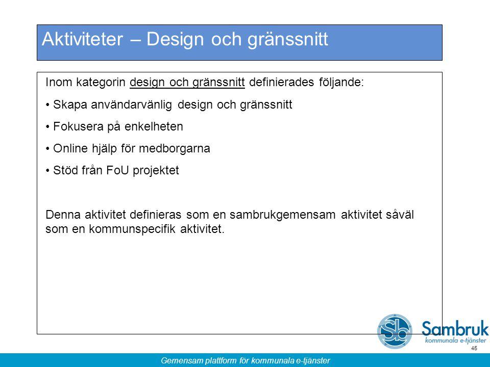 Gemensam plattform för kommunala e-tjänster 45 Aktiviteter – Design och gränssnitt Inom kategorin design och gränssnitt definierades följande: Skapa a