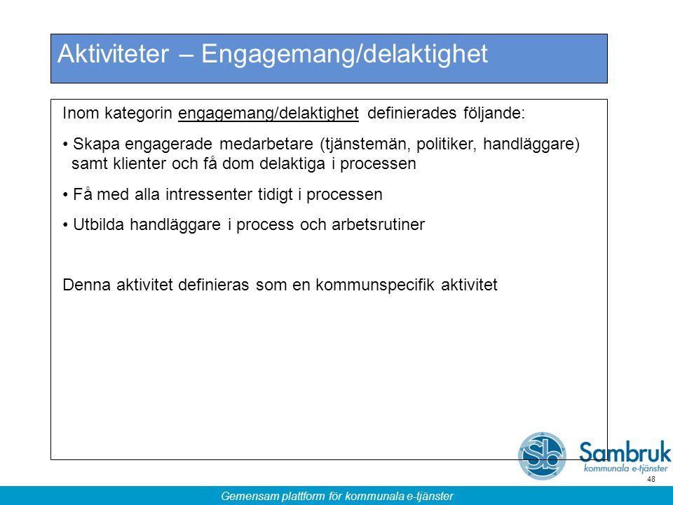 Gemensam plattform för kommunala e-tjänster 48 Aktiviteter – Engagemang/delaktighet Inom kategorin engagemang/delaktighet definierades följande: Skapa