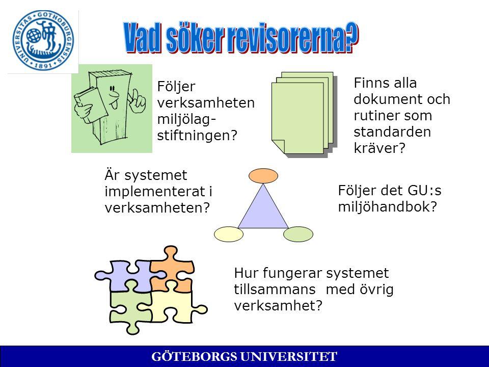 ISO 14001 EMAS ISO 9001-3 QS9000 AFS 2001:1 Verksamhet Platser Organisation Standard Undantag GÖTEBORGS UNIVERSITET