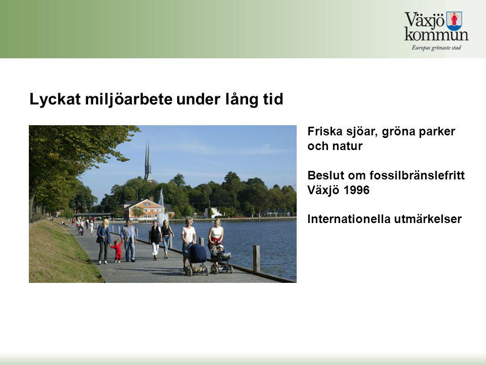 Friska sjöar, gröna parker och natur Beslut om fossilbränslefritt Växjö 1996 Internationella utmärkelser Lyckat miljöarbete under lång tid