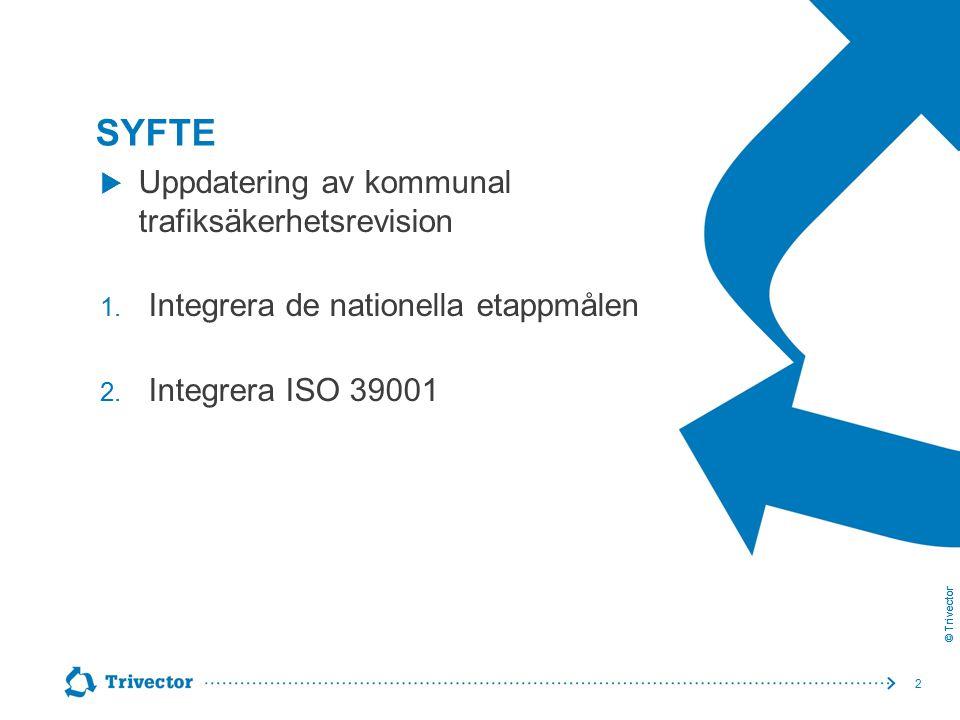 © Trivector SYFTE 2  Uppdatering av kommunal trafiksäkerhetsrevision 1. Integrera de nationella etappmålen 2. Integrera ISO 39001