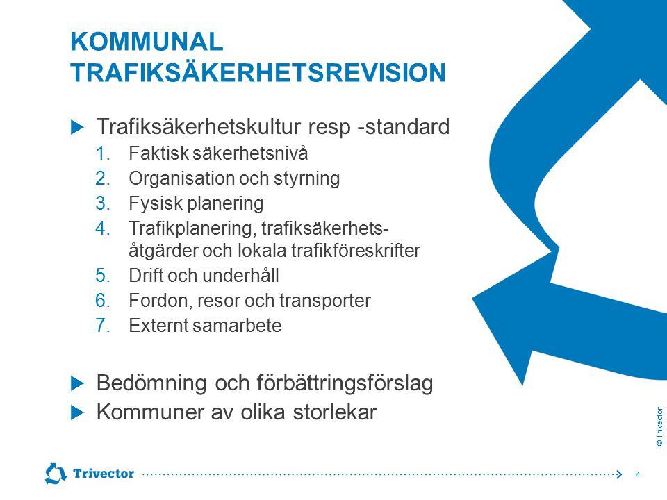 © Trivector KOMMUNAL TRAFIKSÄKERHETSREVISION  Trafiksäkerhetskultur resp -standard 1.Faktisk säkerhetsnivå 2.Organisation och styrning 3.Fysisk plane