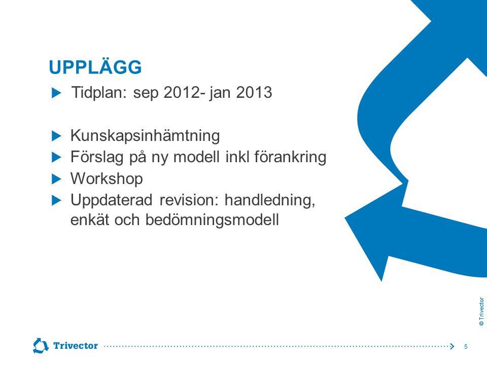 © Trivector UPPLÄGG 5  Tidplan: sep 2012- jan 2013  Kunskapsinhämtning  Förslag på ny modell inkl förankring  Workshop  Uppdaterad revision: hand