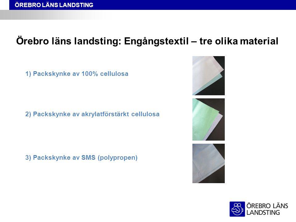 ÖREBRO LÄNS LANDSTING Örebro läns landsting: Engångstextil – tre olika material 1) Packskynke av 100% cellulosa 2) Packskynke av akrylatförstärkt cell