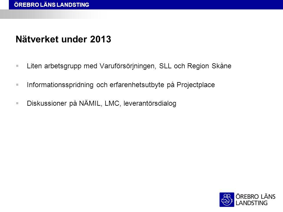 ÖREBRO LÄNS LANDSTING Nätverket under 2013  Liten arbetsgrupp med Varuförsörjningen, SLL och Region Skåne  Informationsspridning och erfarenhetsutby