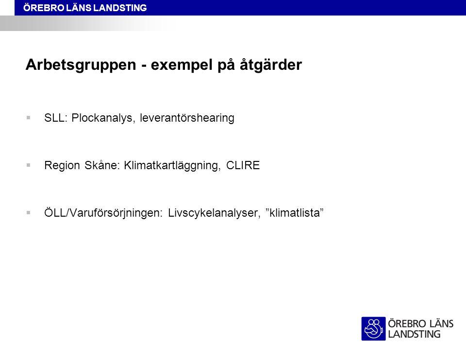 ÖREBRO LÄNS LANDSTING Arbetsgruppen - exempel på åtgärder  SLL: Plockanalys, leverantörshearing  Region Skåne: Klimatkartläggning, CLIRE  ÖLL/Varuf