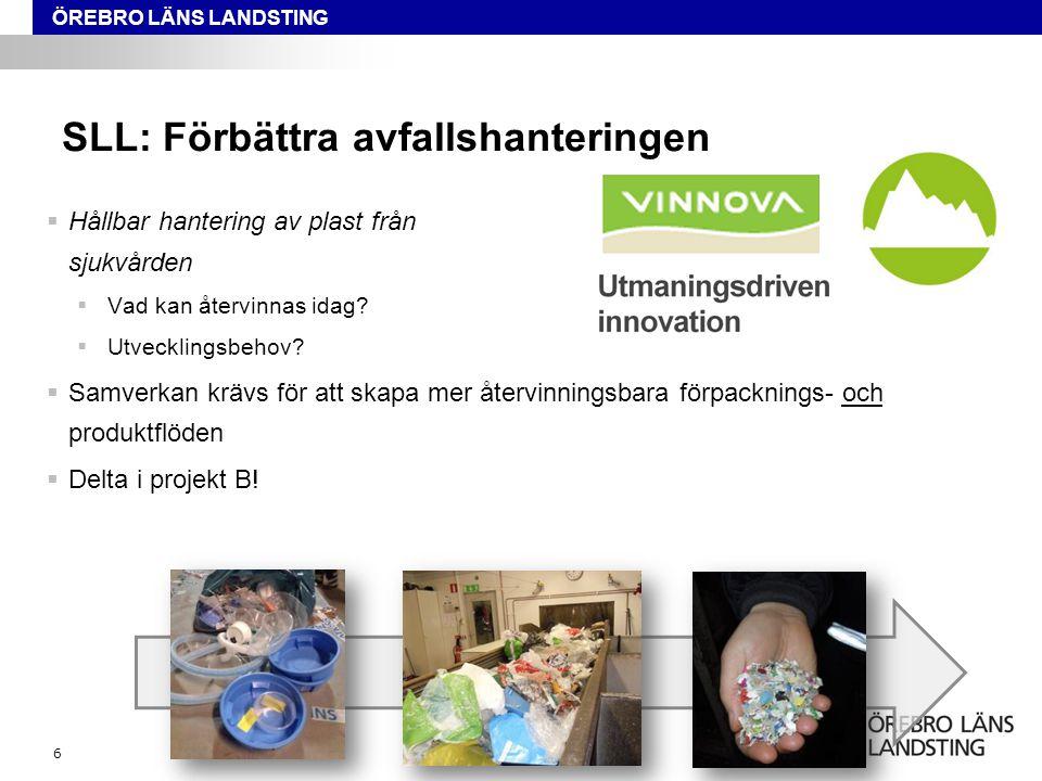ÖREBRO LÄNS LANDSTING SLL: Förbättra avfallshanteringen  Hållbar hantering av plast från sjukvården  Vad kan återvinnas idag?  Utvecklingsbehov? 