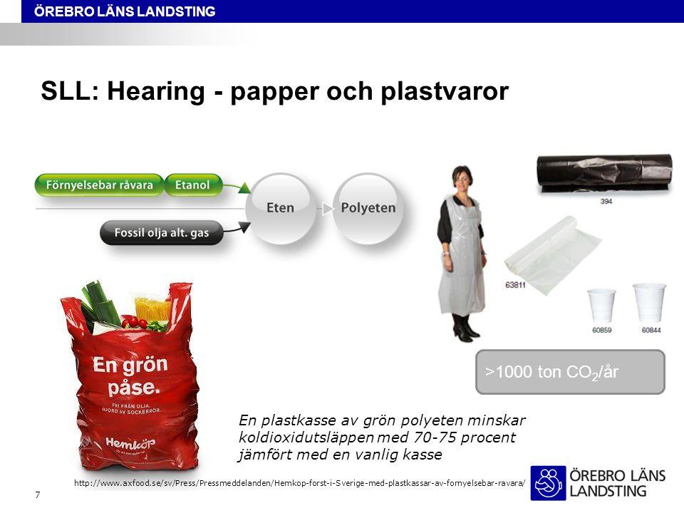 ÖREBRO LÄNS LANDSTING SLL: Hearing - papper och plastvaror 7 En plastkasse av grön polyeten minskar koldioxidutsläppen med 70-75 procent jämfört med e