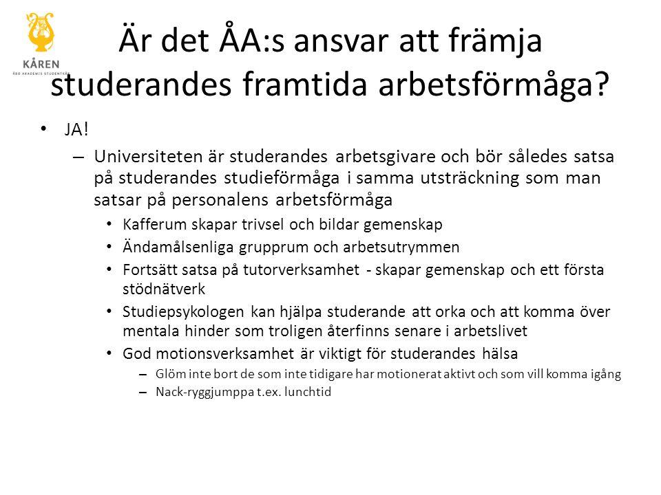 Är det ÅA:s ansvar att främja studerandes framtida arbetsförmåga? JA! – Universiteten är studerandes arbetsgivare och bör således satsa på studerandes