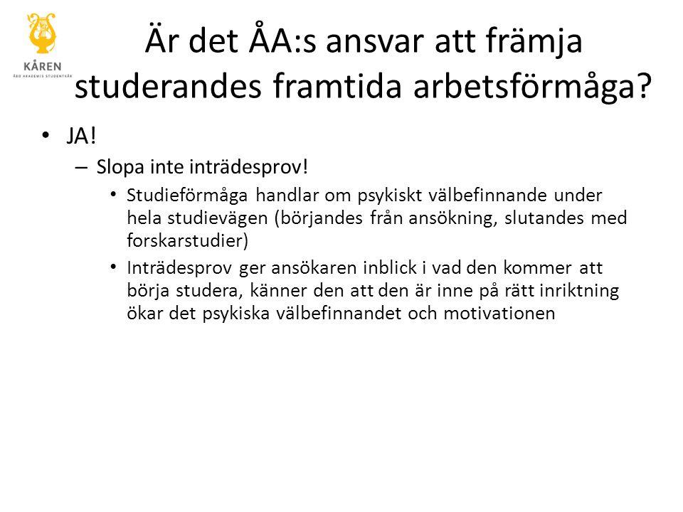 Är det ÅA:s ansvar att främja studerandes framtida arbetsförmåga? JA! – Slopa inte inträdesprov! Studieförmåga handlar om psykiskt välbefinnande under